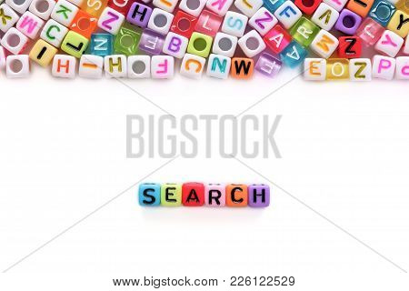 Search Word And Alphabet Letter Beads On White Background For Search Engine Optimization Concept