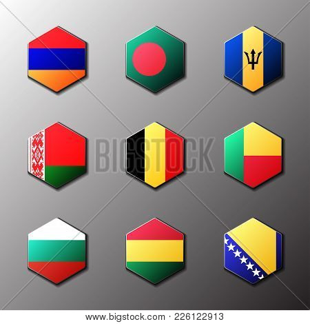 Hexagon Icon Set. Flags Of The World With Official Rgb Coloring And Detailed Emblems In Vector. Arme