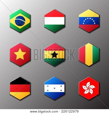 Hexagon Icon Set. Flags Of The World With Official Rgb Coloring And Detailed Emblems In Vector. Braz