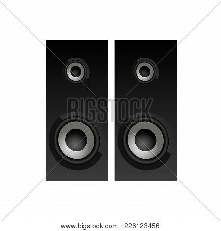 Realistic Black Loudspeakers Top View. Speakers Icon. Vector.
