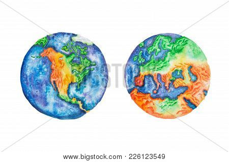 Globe. Watercolor Illustration Of Planet Earth North America And Europe Mainlands And Continents