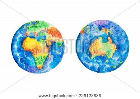 Globe. Watercolor Illustration Of Planet Earth Africa And Australia Continents