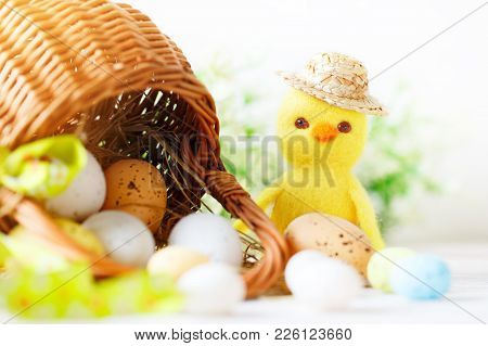 Happy Easter. Congratulatory Easter Background. Easter Eggs And Chick. Background With Copy Space. S