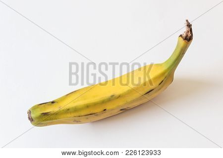 Top View Of A Fully Ripe Burro Banana, Orinoco, Bluggoe, Horse, Hog And Largo Banana, Isolated On Wh