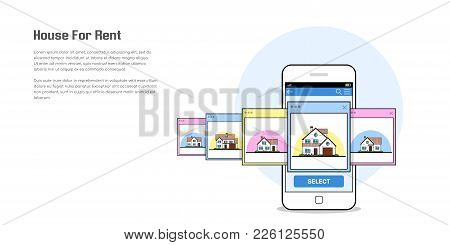 Picture Of A Smartphone With House Icons, House For Rent, House Selection Concept, Flat Style Lone A
