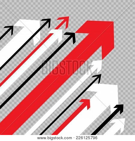Different Arrows Move Up To Success On Transparent Background. Business Growth Abstract Arrow Sign F