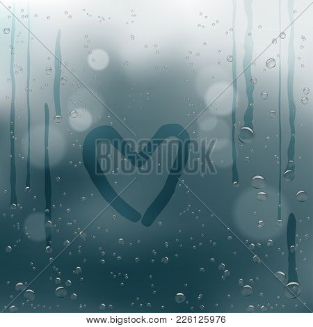 Drawn Heart With A Finger On Rainy Water Drops Flow Down Dark Bokeh Background. Romance Love Bubble