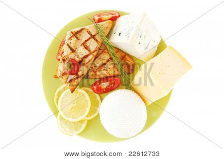 roast salmon and soft cheeses on green over white