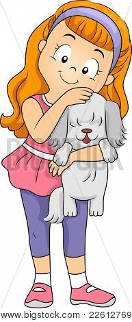 Illustration of a Kid Hugging a Puppy poster