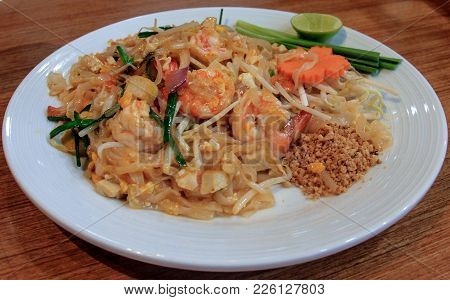 Pad Thai. Healthy And Traditional Thai Food Of Noodles
