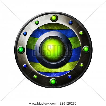 Colored metal button. Button for game interface. Blue and green button