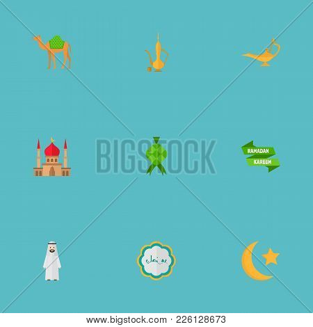 Set Of Holiday Icons Flat Style Symbols With Camel, Ketupat, Muslim Male And Other Icons For Your We