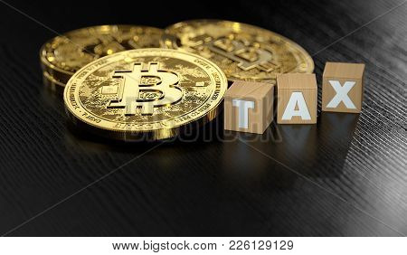 Stack Of Bitcoin Laying Next To Wooden Blocks With Tax Letters. Bitcoin Investments And Taxes Concep
