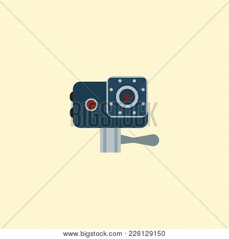 Action Cam Icon Flat Element. Vector Illustration Of Action Cam Icon Flat Isolated On Clean Backgrou