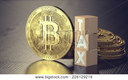 Bitcoin Standing Next To Wooden Blocks With Tax Letters. Taxes On Bitcoin Investments Concept. 3d Re