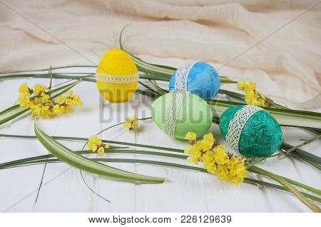 Symbols Of Ostara Celebration, Colored Eggs, Green Grass.