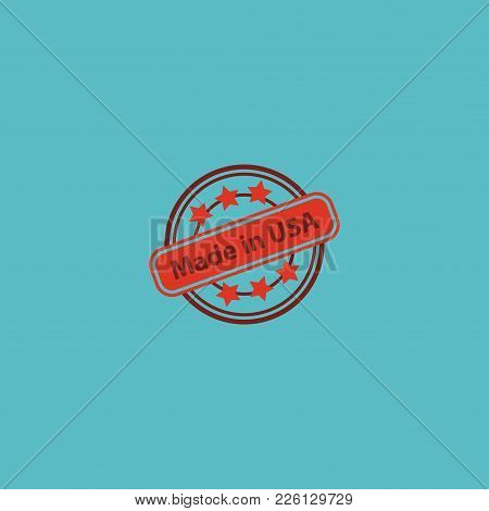 Made In Usa Icon Flat Element. Vector Illustration Of Made In Usa Icon Flat Isolated On Clean Backgr