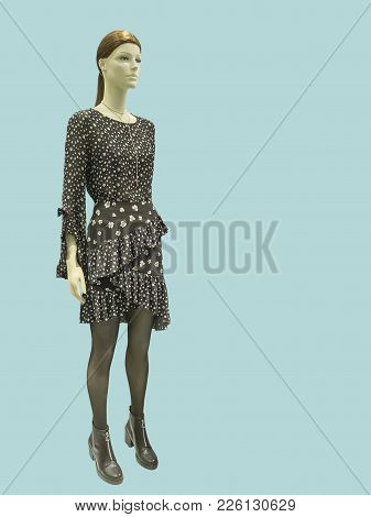 Full-length Female Mannequin Wearing Black Dress With Flower Pattern, Isolated. No Brand Names Or Co