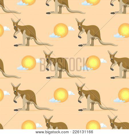 Australian Animal Kangaroo Seamless Pattern Vector Marsupial Wallaby In Australia And Textured Anima