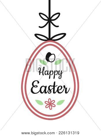 Happy Easter Text Sign On Hanging Easter Egg With Flower And Ribbon Bow Decoration Red And Black Out