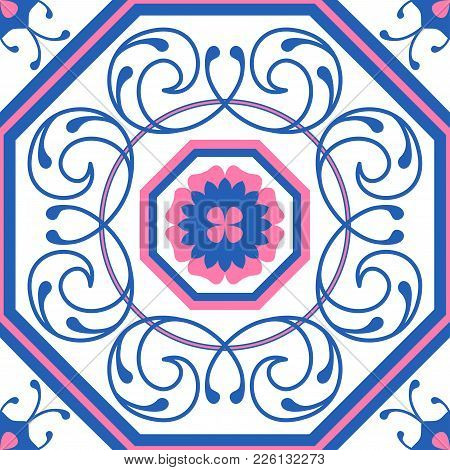 Seamless Pattern In Portugal Style. Azulejo. Seamless Patchwork Tile In Blue And Pink. Endless Patte