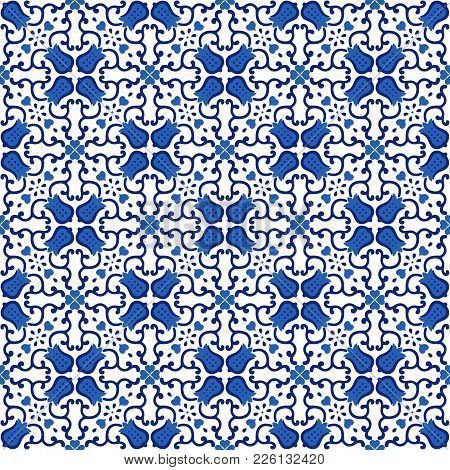 Ornamental Pattern Vector Seamless Blue And White Color. Tile Pattern - Traditional Azulejo, Portugu