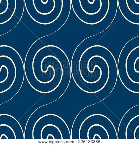 Squiggles Seamless Pattern With Abstract White Scrolls Lines On Blue Background Flat Vector Illustra