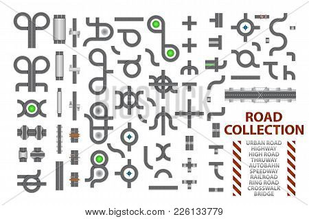 Mega collection of road junctions. Street road elements with bridge, crosswalk, ringroad, railroad, speedway. poster