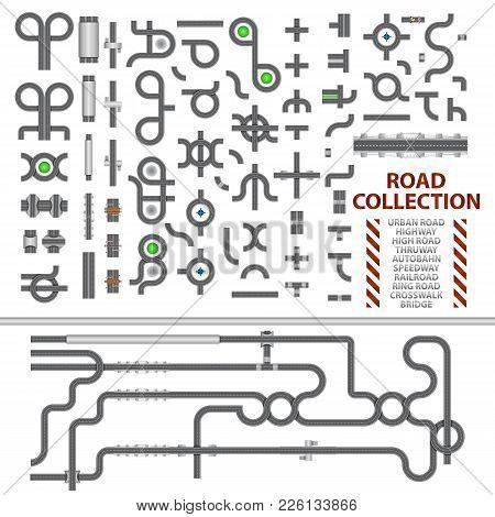 Mega Collection Of Road Junctions. Street Road Elements With Bridge, Crosswalk, Ringroad, Railroad,