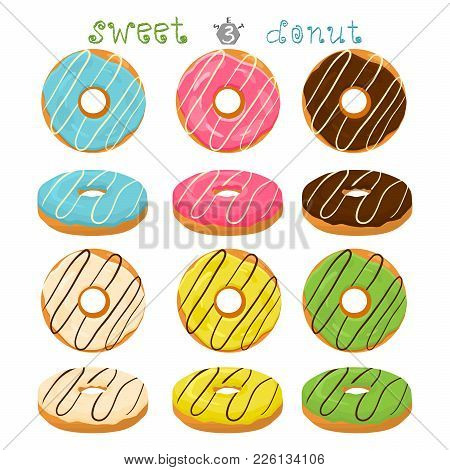 Abstract Vector Icon Illustration Logo For Glazed Sweet Donut. Donut Pattern Consisting Of Heap Of D