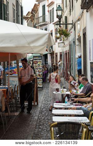 Funchal, Madeira, Portugal - September 8, 2016: Shops, Bars And Restaurants  In Santa Maria Street I