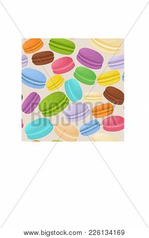 Vector Icon Illustration Logo For Pile Colorful Macaroons, Baked Goods On Morning Breakfast. Macaroo