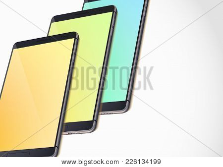 Modern Portable Gadgets Template With Realistic Smartphones And Colorful Blank Screens On White Back