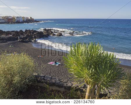 Spain, Canary Islands, Tenerife, Puerto De La Cruz, December 23, 2017, View On Playa Jardin Beach Wi