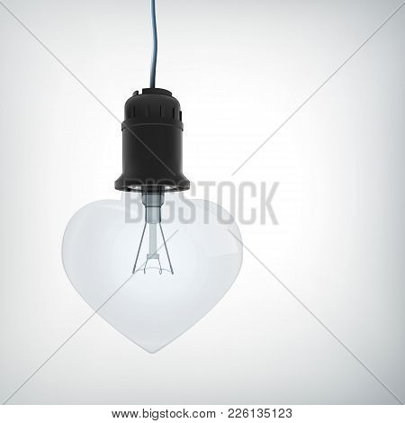 Realistic Amourous Design Concept With Light Bulb In Heart Shape Hanging On Wire Isolated Vector Ill