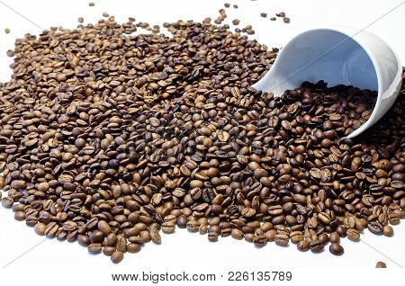 White Coffee Cup Is Lying In The Roasted Coffee Beans