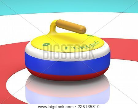 Tricolor Stone With A Handle For Curling On Sport Ice (3d Illustration).