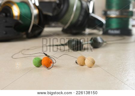 Baits, Hooks, Sinkers, Reels, Is Preparing For Carp Fishing.