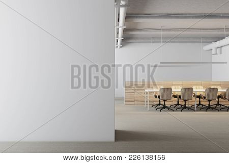 White Meeting Room Interior With A Long Table And Rows Of Yellow And White Office Chairs Standing Ne