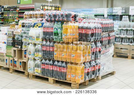 Kiev, Ukraine. February 1 2018. Pallets With Coca-cola Phantom And Sprite In The Supermarket