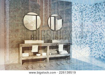 Gray And Tiled Bathroom Interior With A Double Sink Standing On A Wooden Shelf With Two Round Mirror