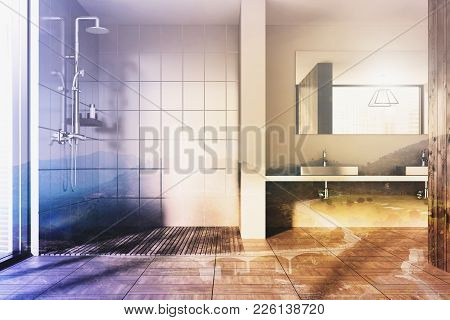 Wooden Bathroom Interior With A Double Sink Standing On A Long White Shelf And A Long Horizontal Mir