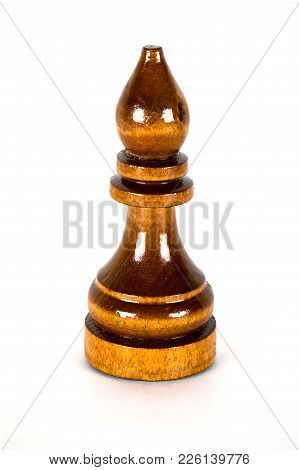The Macro Shot Of The Black Chess Bishop Of Wood On The White Background. The Chess Piece Is Isolate