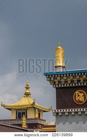 Coorg, India - October 29, 2013:golden Turret As Decoration On Cormer Of Roof At Zangdog Palri Templ