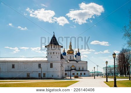 Tobolsk, Russia - May 2, 2010: Kremlin Complex: Guests Yard, St Sophia-assumption Cathedral. 1587 Fo