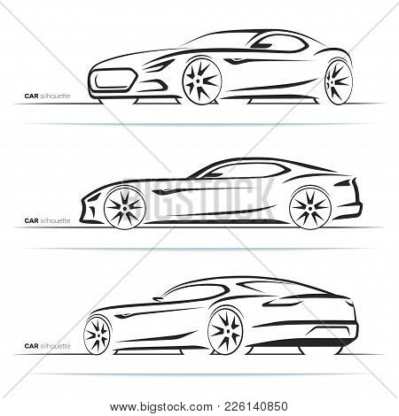 Set Of Sports Car Silhouettes, Outlines, Contours. Side And Perspective Front And Rear View. Abstrac