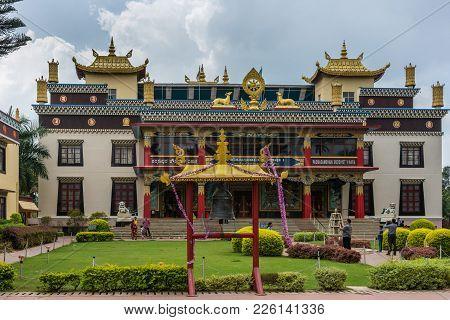 Coorg, India - October 29, 2013: Front Facade With Entrance To Padmasambhava Vihara At Namdroling Bu