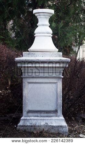Front View Of Stone Pillar White Empty Pedestal