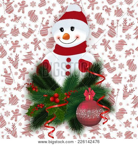 Illustration Of Snowman With Fir Tree, Holly Berry Branches, Christmas Ball, Streamers And Backgroun