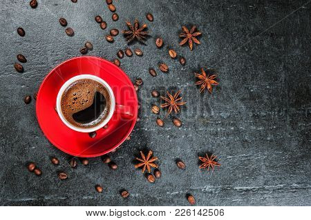 Coffee Cup Background With Coffee Beans And Anise Star Top View.